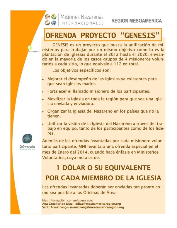 OFRENDA PROYECTO GENESIS MES DE ENERO 2014 copy