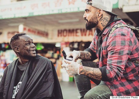 Barber with homeless